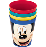 Mickey & Donald 4 bunte Plastikbecher (280 ml) 7x11 cm