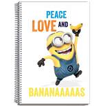 Minions Notizbuch A4 Minions Peace Love Banana