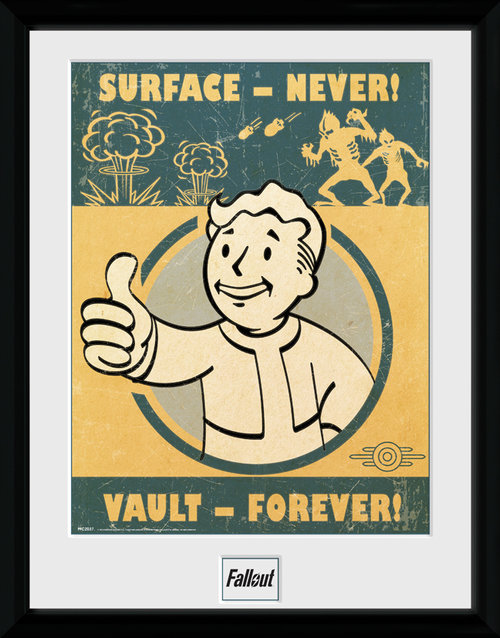 Poster Fallout 4 Vault Forever mit Rahmen