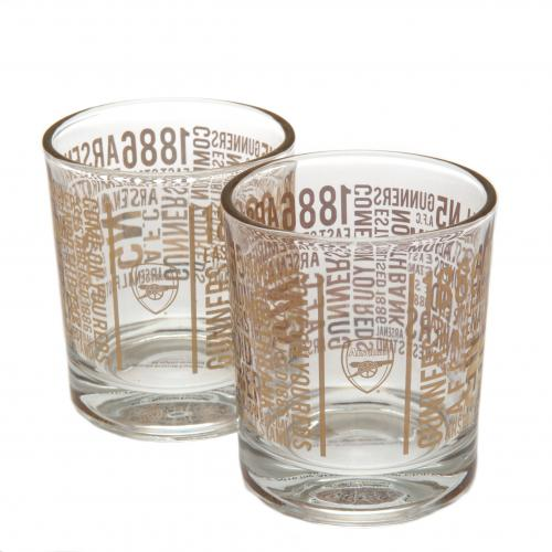 Glas Arsenal F.C. Set: 2 Whiskey Glasser TX.