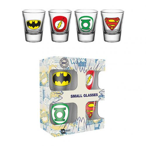 Glas Superhelden DC Comics x 4 Stuck