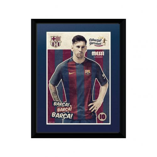 poster mit rahmen fc barcelona messi 8 grosse 15 x 20 cm. Black Bedroom Furniture Sets. Home Design Ideas