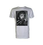 T-Shirt Chuck Norris  - Selfie with Moustache Finger in weiss