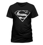 T-Shirt Superman - Logo Mono Distressed - unisex in schwarz