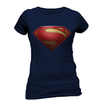 T-Shirt Superman - Textured Logo - tailliert fur Frauen in blau.