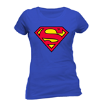 T-Shirt Superman - Logo tailliert fur Frauen in blau.