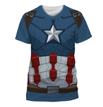 T-Shirt Captain America  - Captain America Costume Sublimation - Unisex in blau