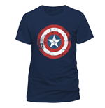 T-Shirt Captain America - Ca Shield Distressed - Unisex in blau