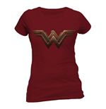 T-Shirt Batman V Superman - Wonder Woman Logo - tailliertes T-Shirt in rot