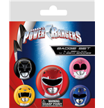 Power Rangers Ansteck-Buttons 5er-Pack Helmets