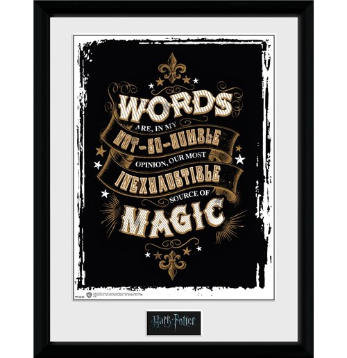 kaufe poster mit rahmen harry potter words 30 x 40 cm. Black Bedroom Furniture Sets. Home Design Ideas