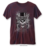 T-Shirt Guns N' Roses Men's Fashion Tee: Faded Skull with Burn Out Finishing