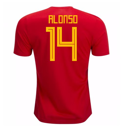 Trikot 2018/19  Spanien Fussball 2018-2019 Home (Alonso 14) Kinder