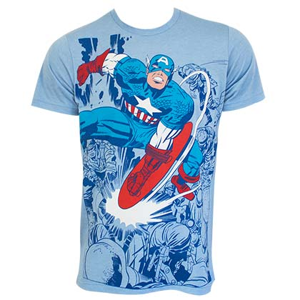 T-Shirt Captain America  Super Smash Fighting in blau