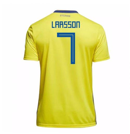 trikot schweden fussball 2018 2019 home larsson 7 kinder. Black Bedroom Furniture Sets. Home Design Ideas