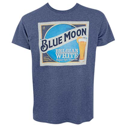 T-Shirt Blue Moon Belgian White Beer Label für Männer in Blau