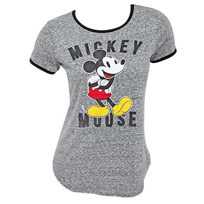 T-Shirt Mickey Mouse für Frauen Ringer T-Shirt in grau
