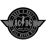 Aufnäher AC/DC Standard Patch: Rock N Roll Will Never Die Cut-Out (Loose)