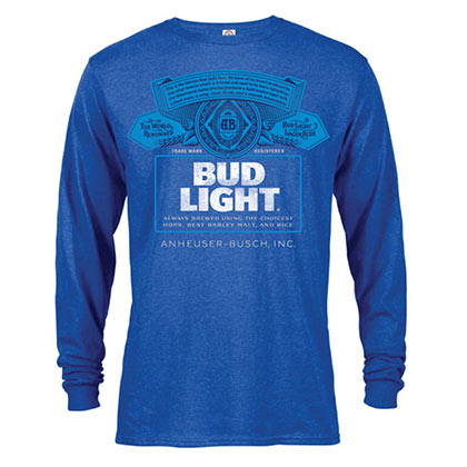 BUD LIGHT Label Langarm Herren Heather Blue TShirt