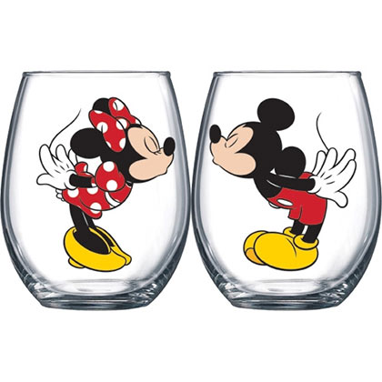 Glas Mickey Mouse Mickey And Minnie Kissing 14.5 oz Wine Glass Set Of 2