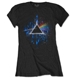 Pink Floyd T-Shirt für Frauen - Design: Dark Side of the Moon Blue Splatter