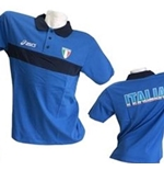 Polo Shirt Italien Volleyball Fun in blau