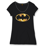 Ladies T-Shirt Batman - Gold Logo schwarz